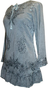 147 B Gypsy Medieval Ruffle Top Tunic Kurta Blouse India - Agan Traders, Turquoise