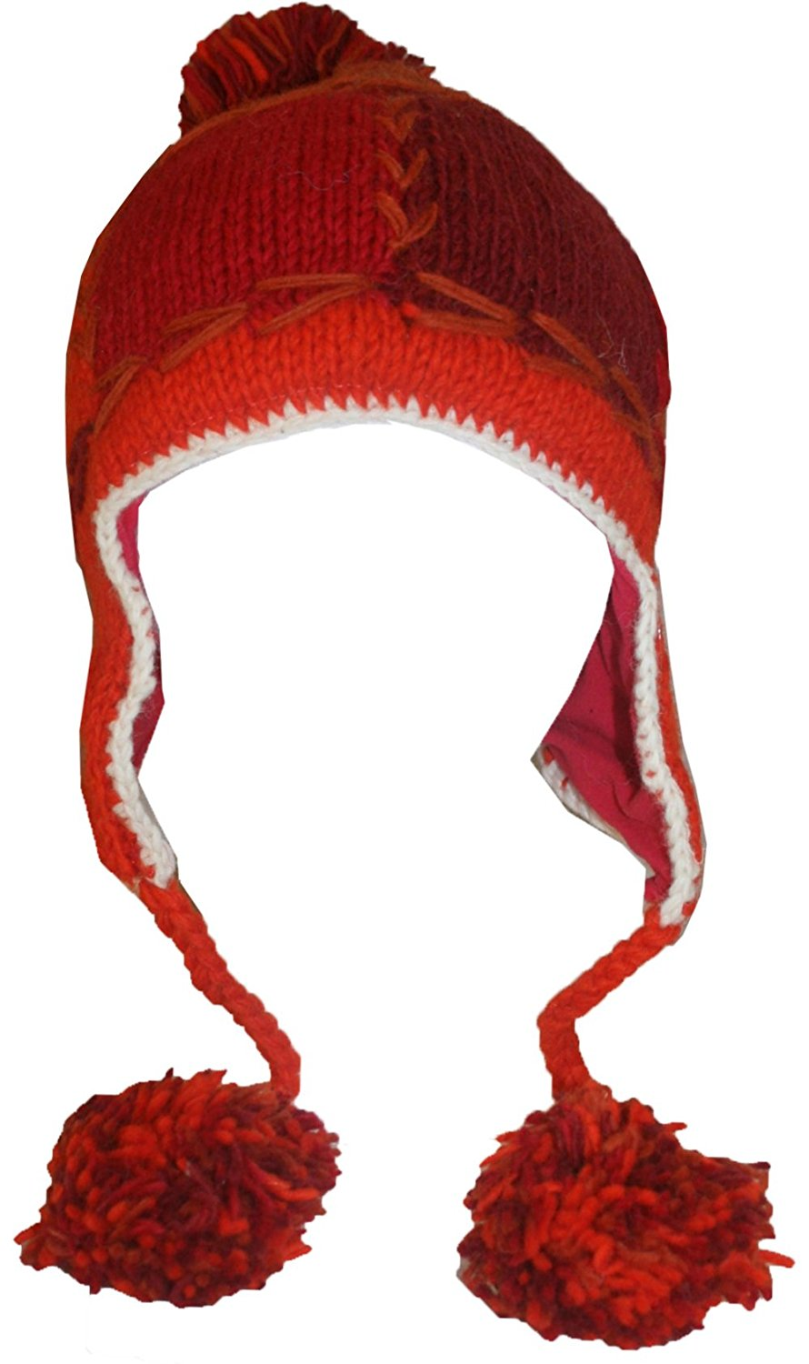 Knit Rainbow Beanie Earflap Khane Hat - Agan Traders, Red Multi