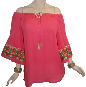 Rayon crape Bohemian Medieval Bell Sleeve Embroidered Rope Tie Tunic Blouse - Agan Traders, Coral