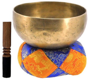 Large 10.75 Inch Diameter E Note Hand Pounded 3rd Eye Chakra Singing Bowl Set - Agan Traders