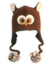 Agan Traders Wool Animal Knit Fleece Lined Flap trapper Hat Child Kids Size - Agan Traders, Owl Brown