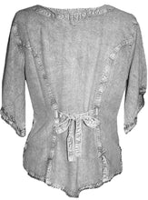Scooped Neck Medieval  Embroidered Blouse - Agan Traders, Silver Grey