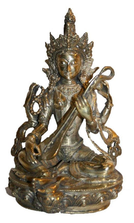 Agan Traders Bronze Saraswati Goddess of Wisdom Statue Fair Trade Nepal (8.5 inches; 3.5 lb) - Agan Traders
