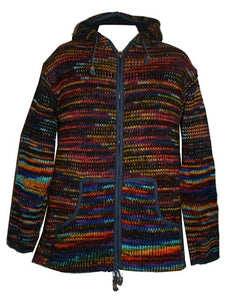 Lambs Wool Fleece Winter Sherpa Hoodie Sweater Jacket - Agan Traders, WJ 11 Blue Multi