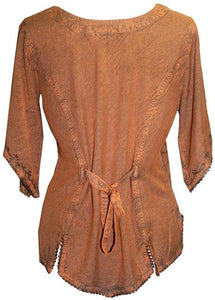 Scooped Neck Medieval  Embroidered Blouse - Agan Traders, Rust