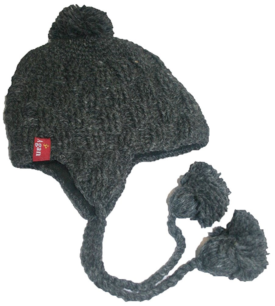 Highland Wool Knit Beanie Fleece Earflap Beanies - Agan Traders, 1411 CH