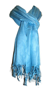 Stripe Pattern Fringes Cotton / Viscose Scarf - Agan Traders