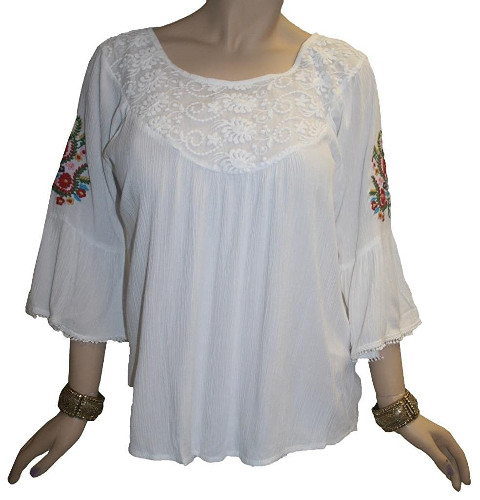 3629 B Rayon Crape Bohemian Medieval Bell Sleeve Color Embroidered