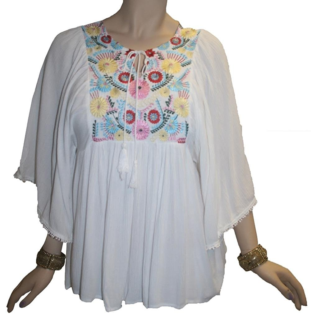 Rayon Crape Bohemian Medieval Short Wide Sleeve Embroidered Tunic Blouse - Agan Traders, White