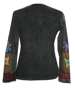Rib Cotton Funky Patch Retro Top Tees Shirt Blouse - Agan Traders, Black Rust