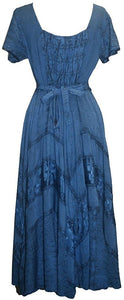 Rayon Embroidered Flare Gothic Corset Dazzling Dress Gown - Agan Traders, Blue