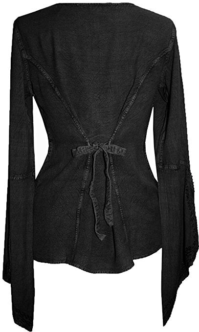 Renaissance Gypsy Bell Sleeve Blouse Top - Agan Traders, Black