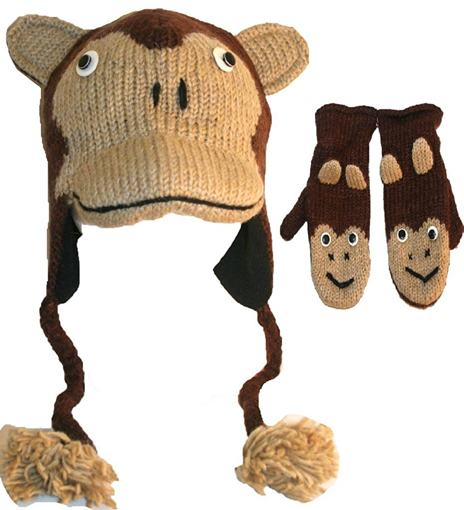 Soft Warm Knit Wool Fleece Lined Flap Trapper Assorted Animal Hat Mitten Set - Agan Traders, Japanese Monkey Set