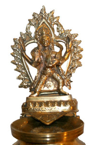 Bronze Oil Lamp(Panas) with Lord Ganesha & Lord Kumar[25 inches tall] - Agan Traders