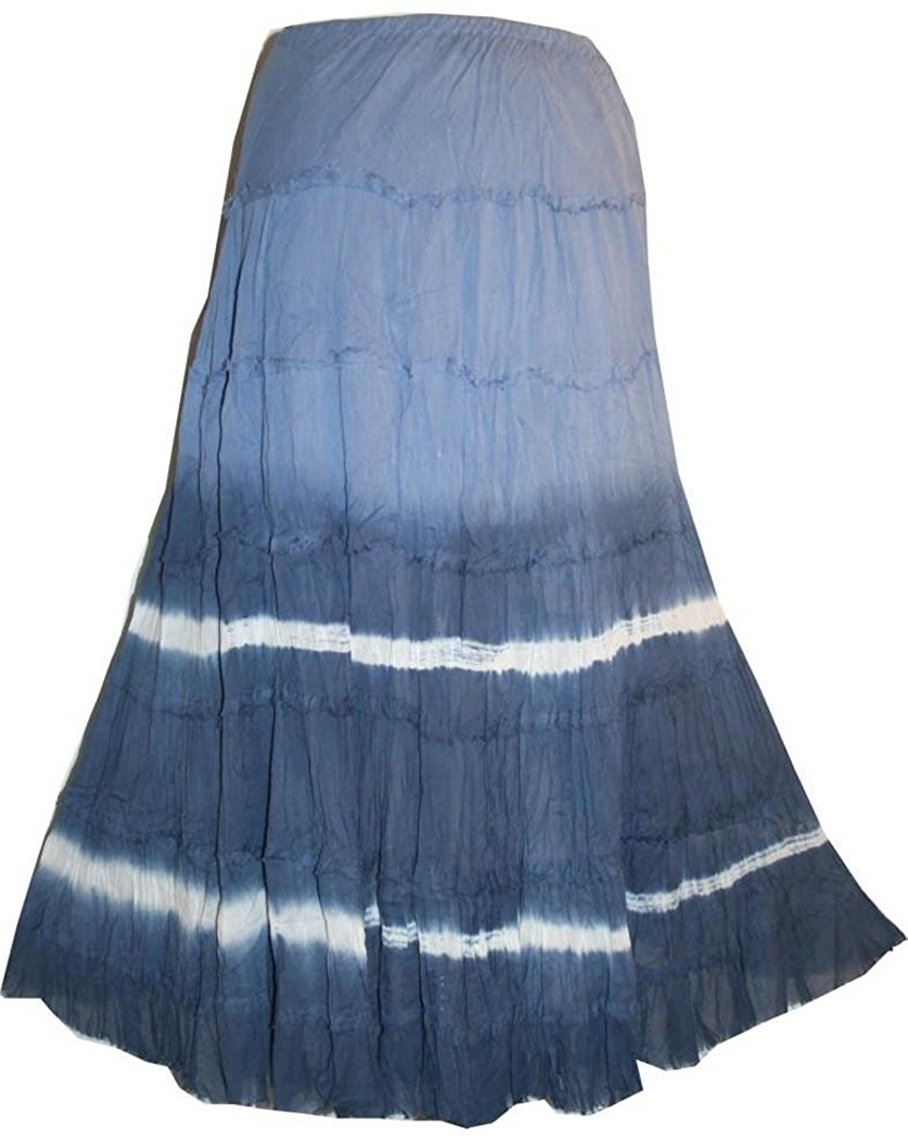 Soft Cotton Tiered Lined Long Skirt - Agan Traders, Blue Multi