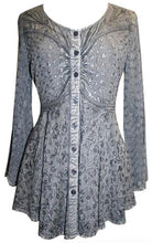 Medieval Gothic Embroidered Flare Sheer Lace Sleeve Top Blouse - Agan Traders, Silver Gray