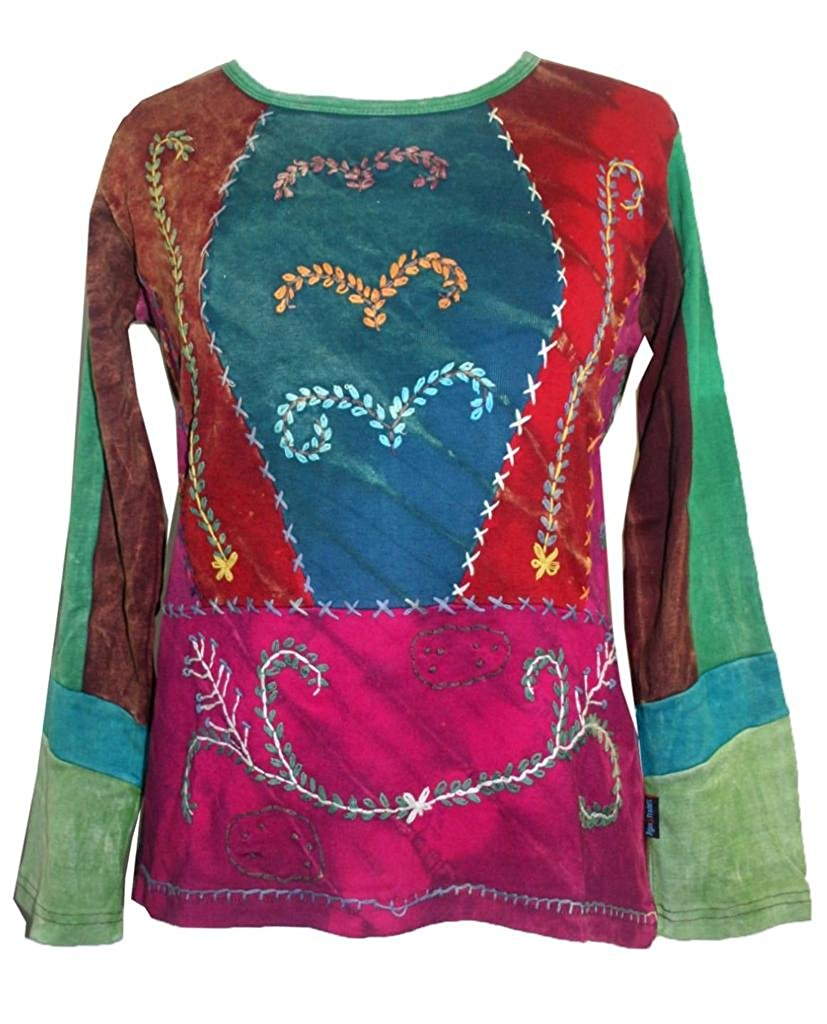Rib Cotton Vibrant Multi Patched Color Funky Embroidered Bohemian Top Blouse - Agan Traders, GR Multi