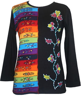 Rib Knit Cotton Rainbow Hand Brushed Flower Boho Gypsy Top Blouse - Agan Traders, Rainbow