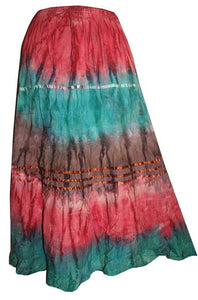 Soft Crinkle Tie Dye Skirt One Size - Agan Traders