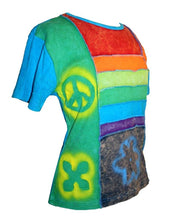 RT 201 Rib Cotton Funky Patch Peace Symbol Printed Yoga Top - Agan Traders
