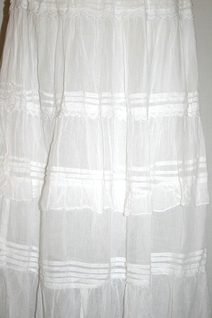 Soft Cotton Tier Lace Long Skirt - Agan Traders, White