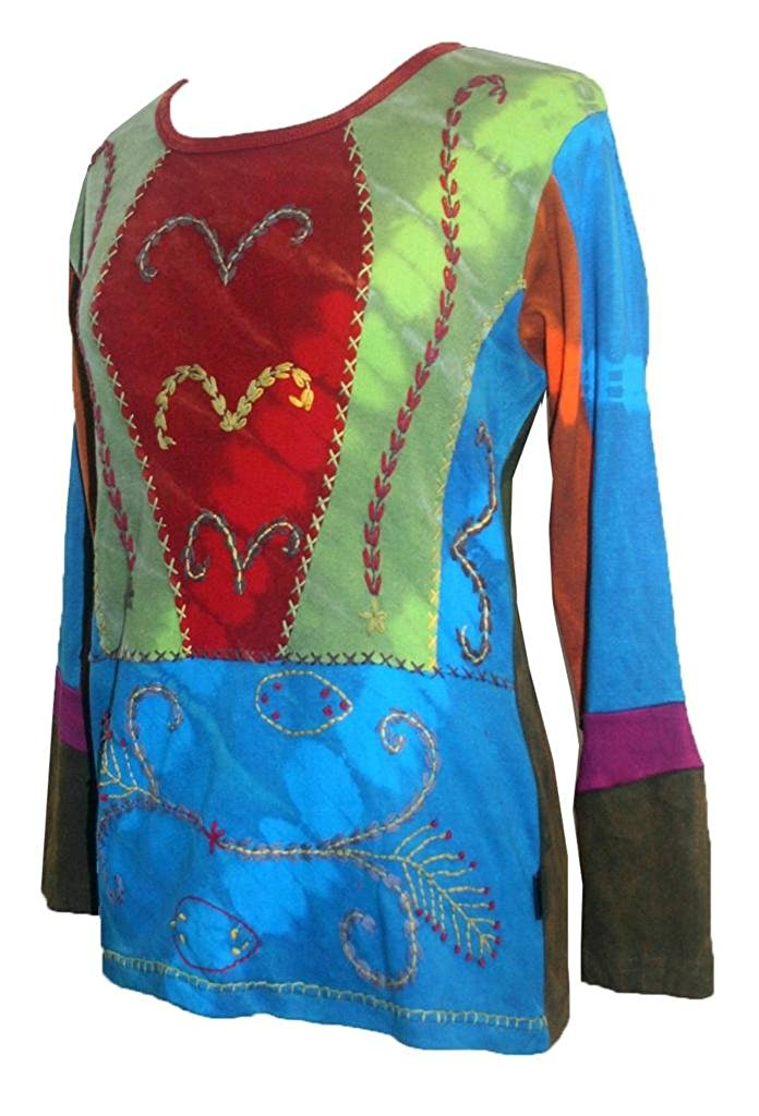 Rib Cotton Vibrant Multi Patched Color Funky Embroidered Bohemian Top Blouse - Agan Traders, Red Multi