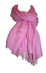 Solid Light Weight Knit Cotton Stripe Scarf or Shawl - Agan Traders
