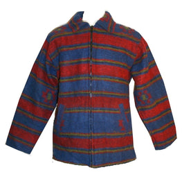 Felt Wool Stripe Fleece Tibetan Jacket Large - Agan Traders