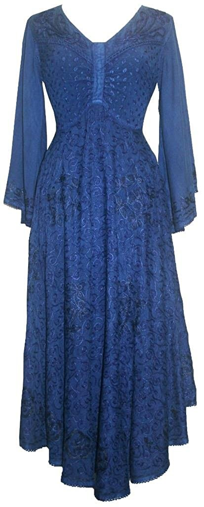 V Neck Embroidered Butterfly Bell Sleeve Flare Mid Calf Dress - Agan Traders, Navy Blue