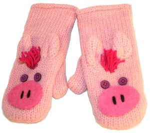 Animal Glove Wool Fleece Lined Warm Soft Adult Teenagers Outdoor Activities Ski Mitten - Agan Traders, Pig Mitten
