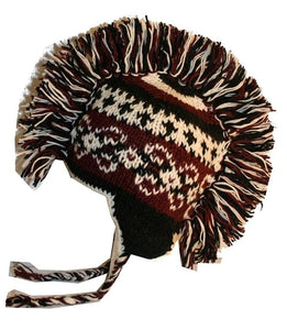 Mohawk Wool Funky Beanie Flag Hats - Agan Traders, Purple White 948