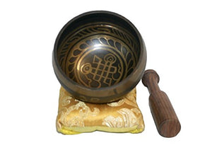 Antique Tibetan Auspicious Symbol Singing Bowl Set ~ Nepal - Agan Traders