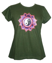 Ying Yang Embroidered Stretchy Yoga Tee - Agan Traders, Army Green