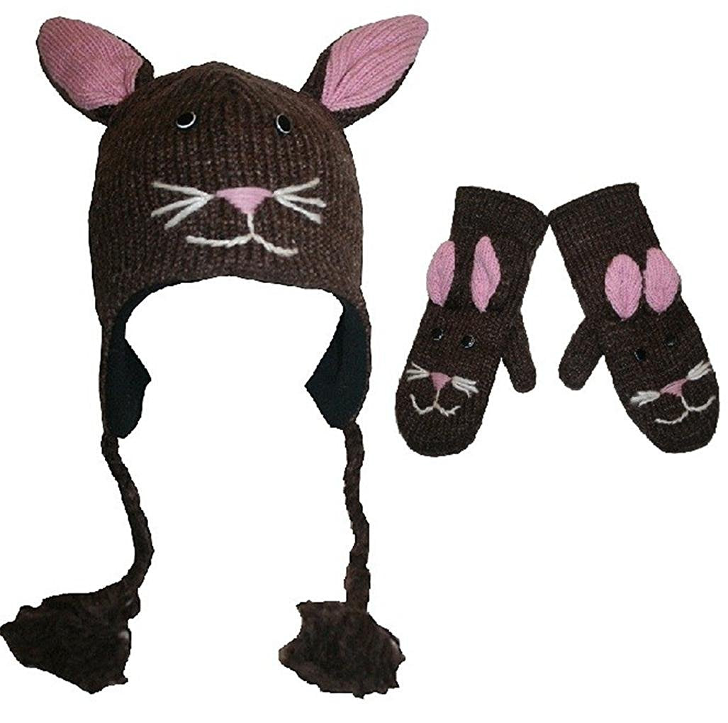 Wool Fleece Lined Flap Trapper Animal Hat Mitten Set - Agan Traders, Bunny Set