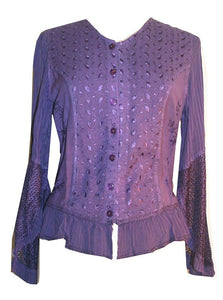 Embroidered Netted Ruffle Sleeve Blouse - Agan Traders, Purple