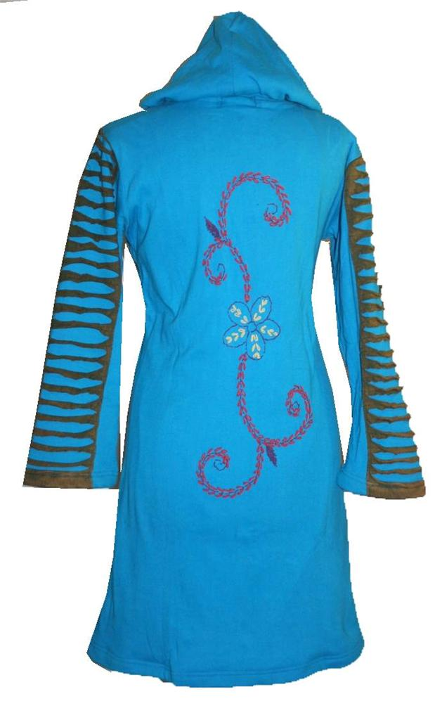 Nepal Knit Cotton Embroidered Bohemian Long Insulated Jacket Coat - Agan Traders, Turquoise