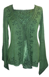 Renaissance Gypsy Bell Sleeve Blouse Top - Agan Traders, E Green