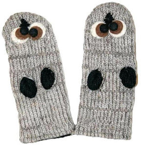 Agan Traders Wool Animal Knit Fleece Lined Flap trapper Hat Child Kids Size - Agan Traders, Mitten-owl Grey