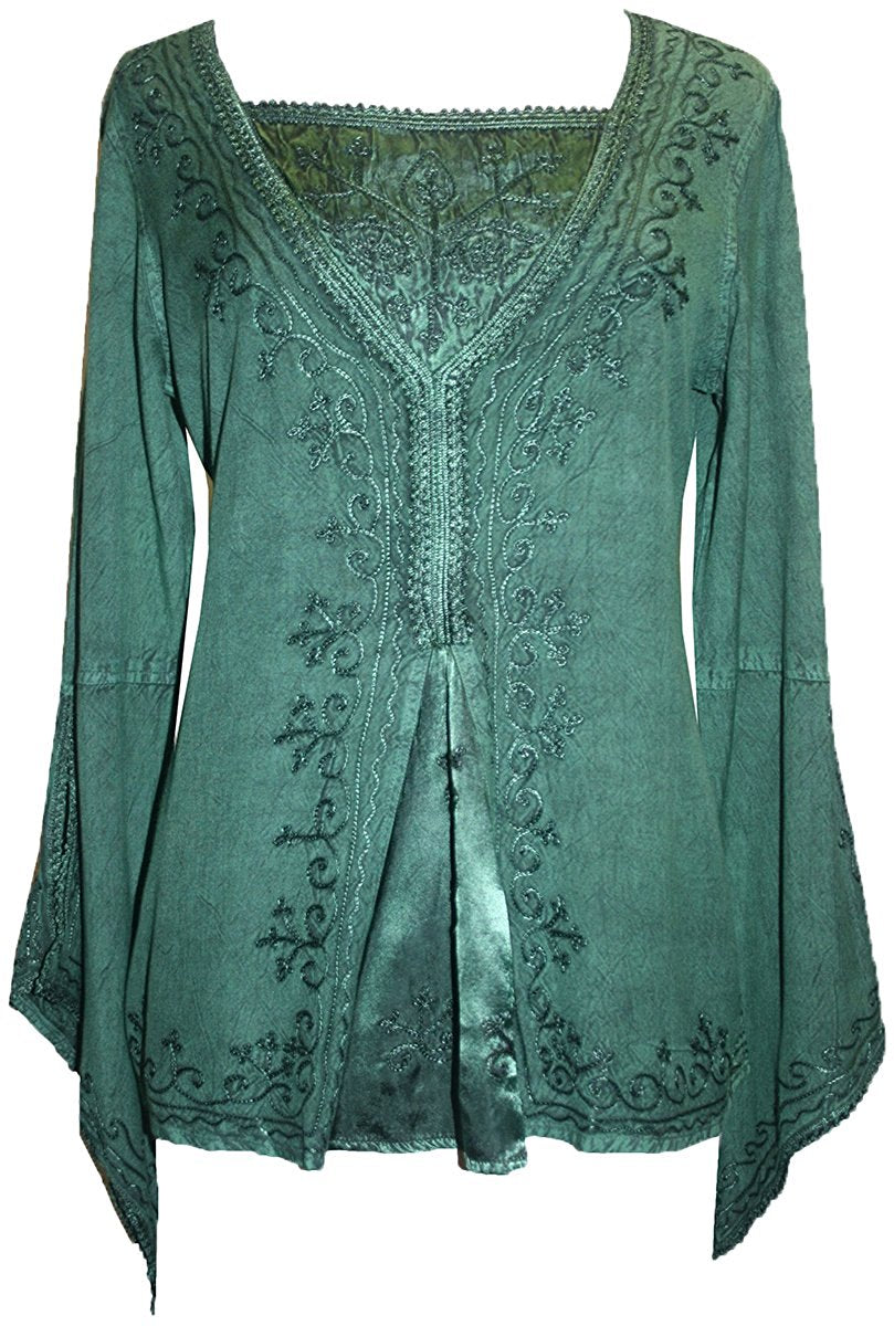 Renaissance Gypsy Bell Sleeve Blouse Top - Agan Traders, H Green