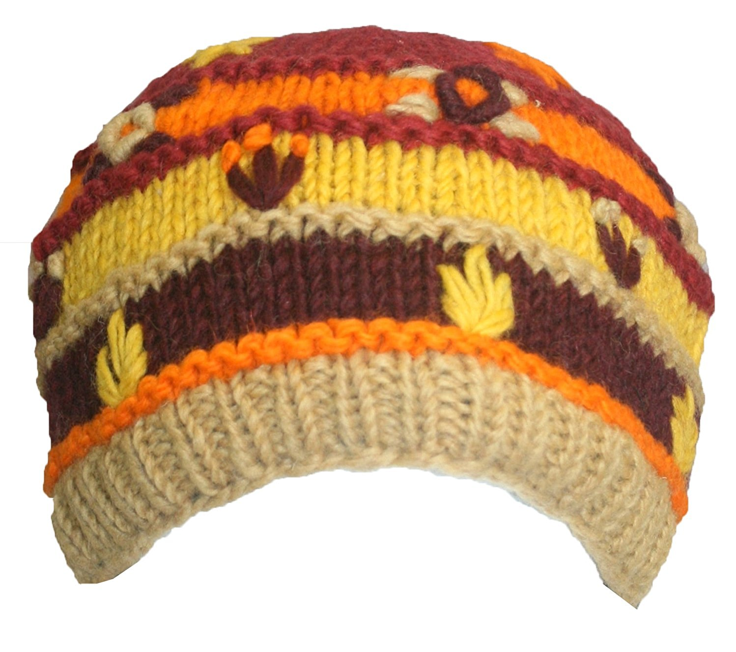Knit Multi-colored Stripe Crochet Hat OR Mitten OR Folding Mitten Nepal - Agan Traders,  Hat Yellow