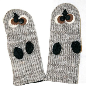 Animal Glove Wool Fleece Lined Warm Soft Adult Teenagers Outdoor Activities Ski Mitten - Agan Traders, Grey Owl Mitten