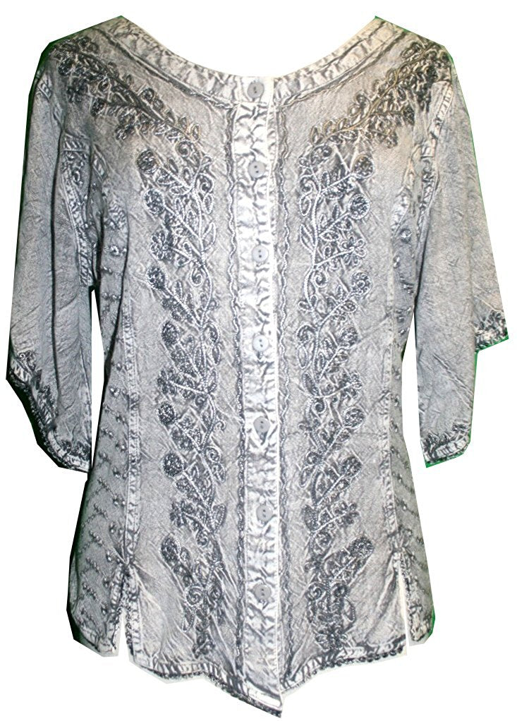 Scooped Neck Medieval  Embroidered Blouse - Agan Traders, Silver / Grey