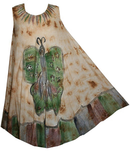 Butterfly Rayon Tie Dye Light Weight Umbrella Mid Length Dress One Size - Agan Traders, BGgreen