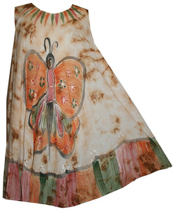 Butterfly Rayon Tie Dye Light Weight Umbrella Mid Length Dress One Size - Agan Traders, BGorange