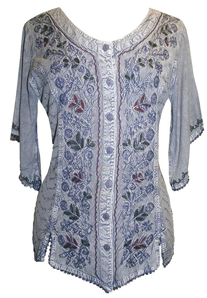Scooped Neck Medieval  Embroidered Blouse - Agan Traders, Lilac