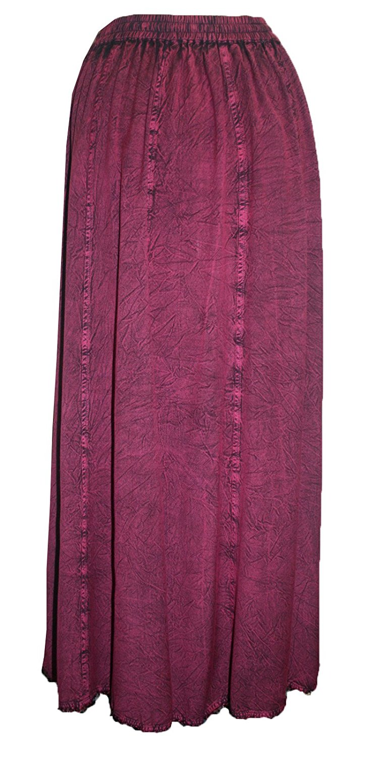 712 SK Agan Traders Medieval Embroidered Long Skirt - Agan Traders, Plum