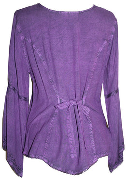 Flower Embroidered Blouse - Agan Traders, Purple