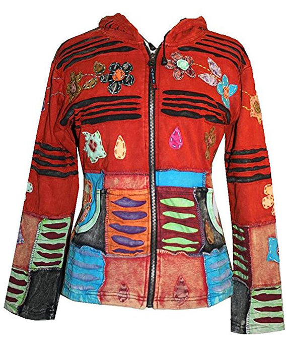 Funky Ribbed Cotton Multi-colored Patched Razor Cut Bohemian Jacket - Agan Traders, Red Burgundy