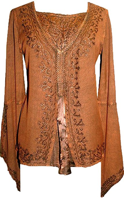 Renaissance Gypsy Bell Sleeve Blouse Top - Agan Traders, Rust