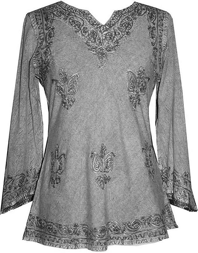 127 B Diamond Neck Embroidered Rayon Renaissance Tunic Blouse - Agan Traders, Silver